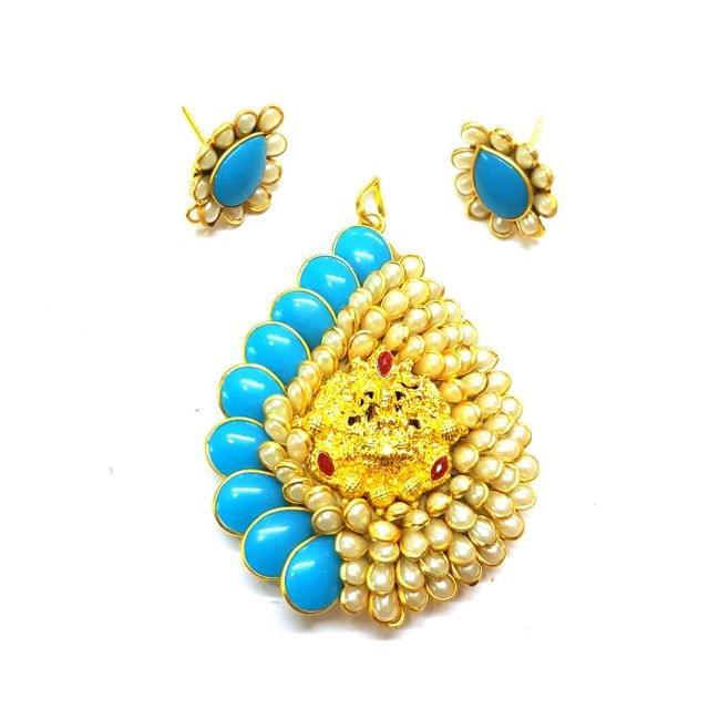 Blue Temple Pendant, Pendant - 2.75 inches, Earrings - 1 inch