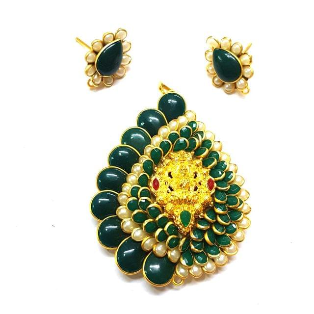 Green Temple Pendant, Pendant - 2.75 inches, Earrings - 1 inch