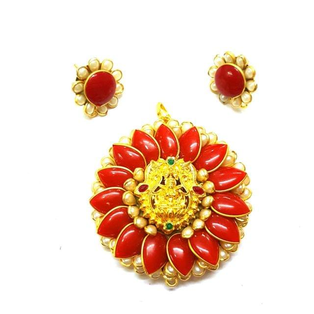 Red Temple Pendant, Pendant - 2.25 inches, Earrings - 0.75 inch