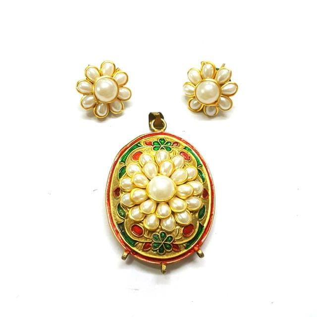 Antique Finish Pacchi Meena Pendant, Pendant - 2 inches, Earrings, 0.75 inch