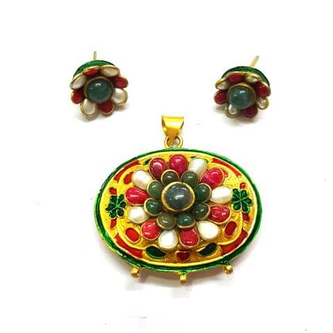 Antique Finish Pacchi Meena Pendant, Pendant - 1.5 inches, Earrings, 0.6 inch