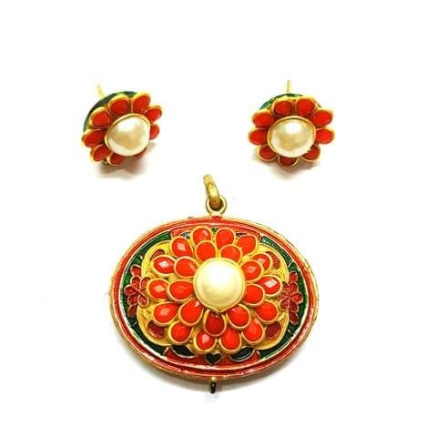 Antique Finish Pacchi Meena Pendant, Pendant - 1.5 inches, Earrings, 0.75 inch