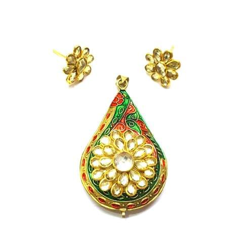 Antique Finish Pacchi Meena Pendant, Pendant - 2.5 inches, Earrings, 0.75 inch