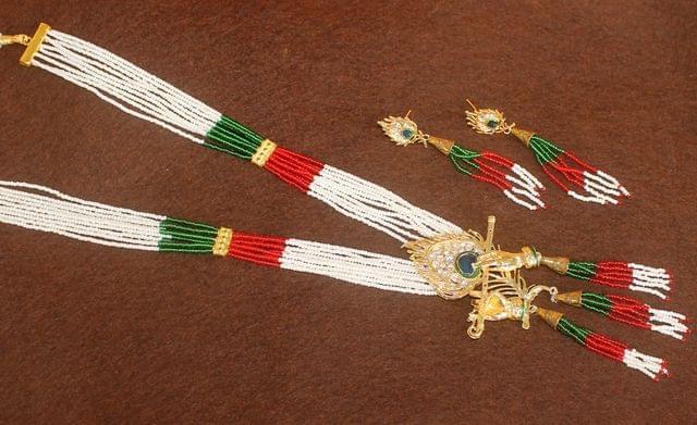 Crystal Beaded Lord Krishna Murli Pankha Kundan Necklace Set