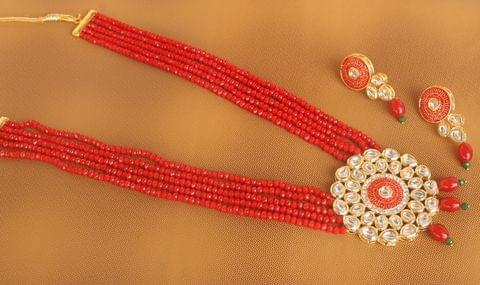 Crystal Beaded Kundan Necklace Set