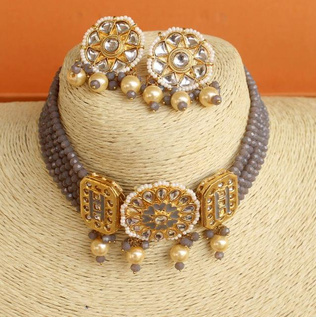 Crystal Beaded Choker Necklace Set