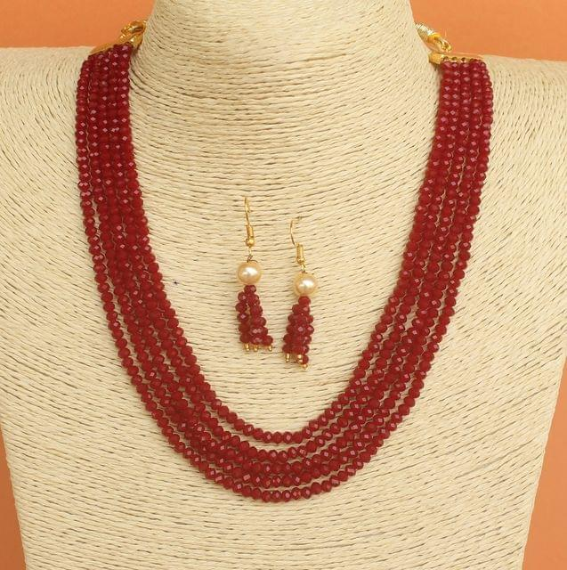 Crystal Beaded Multilayer Necklace Set