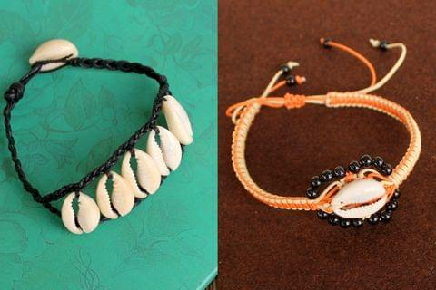 Adjustable Cowrie Shell Braided Bead Bracelets 2 Pcs Combo