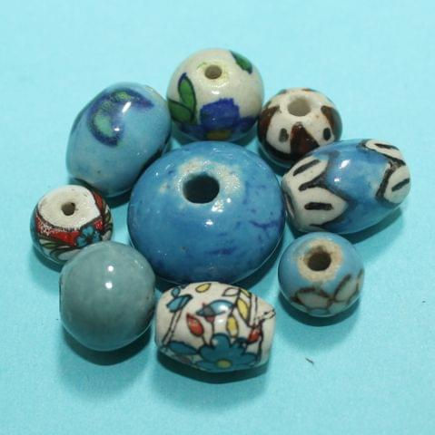 52 Pcs Ceramic Beads  Assorted 14x10 mm