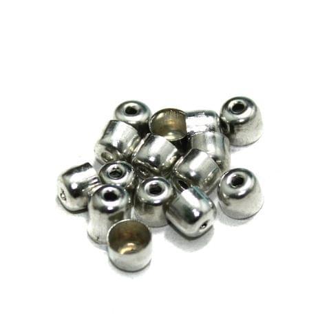 100 Metal Bead Caps Silver 7x5mm