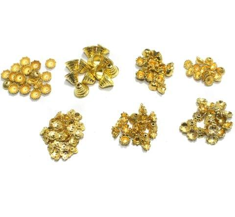 650 pcs Silk Thread Jewellery Making Acrylic Bead Caps Golden Combo Pack Of 7 Sizes