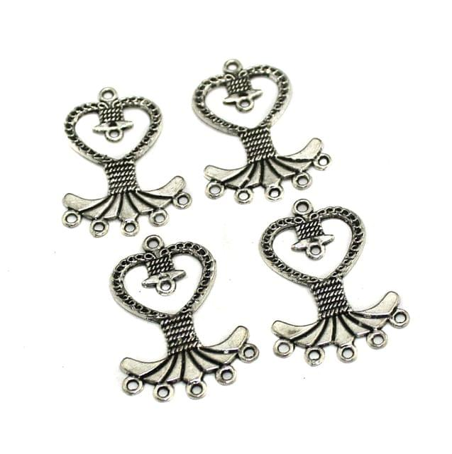 5 Pairs Silver Earring Components 40x28mm
