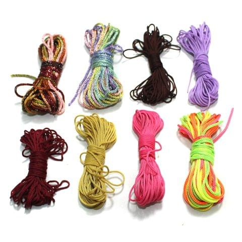 BeadsnFashion Jewellery Making Thread Cord (1 Mm) - Pack of 8 Colours (5 m Each Colour)