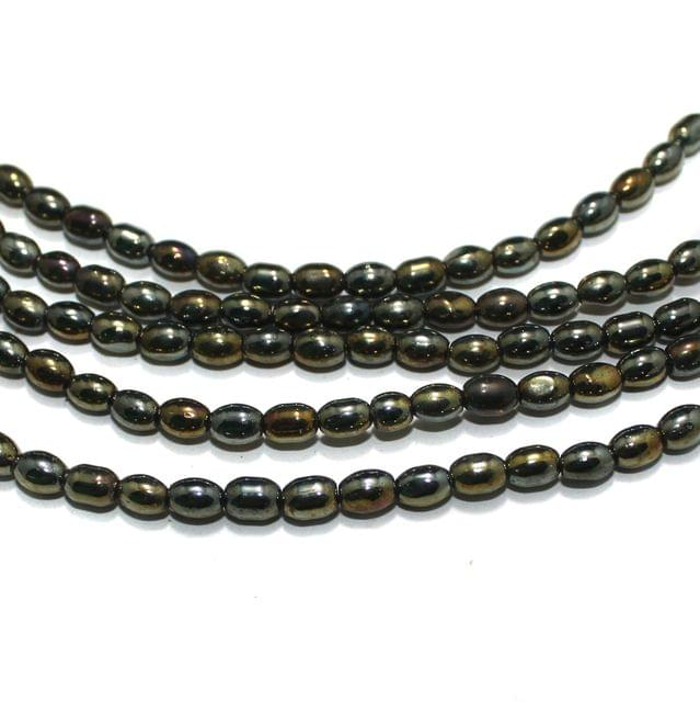 5 Strings Golden Oval Glass Beads 6x4mm