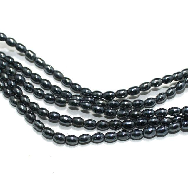 5 Strings Gun Metal Oval Glass Beads 6x4mm
