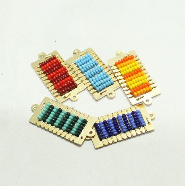 Gold Plated Miyuki Seed Beads Square Connector and Earrings Components Charms Multi 28x15mm, Pack Of 10 Pcs