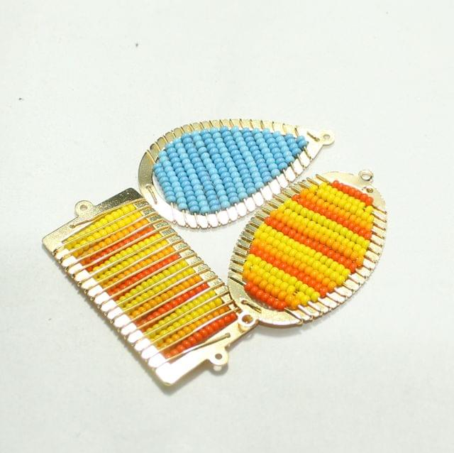8 Pcs Gold Plated Miyuki Seed Beads Drop Connector and Earrings Components Charms Multi