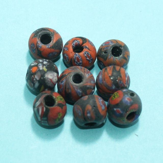 50 Assorted Antique Mosaic Glass Beads 11x13