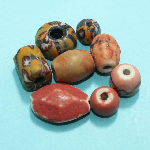 63 Assorted Antique Mosaic Glass Beads 38-12
