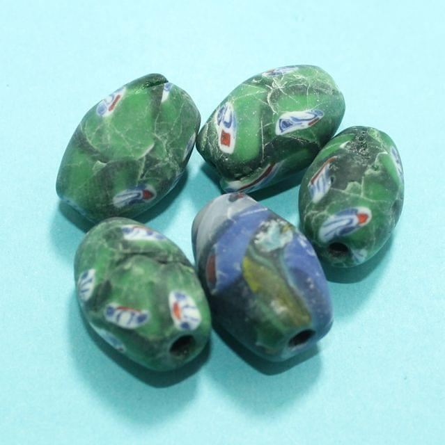 50 Assorted Antique Mosaic Glass Beads 19x16