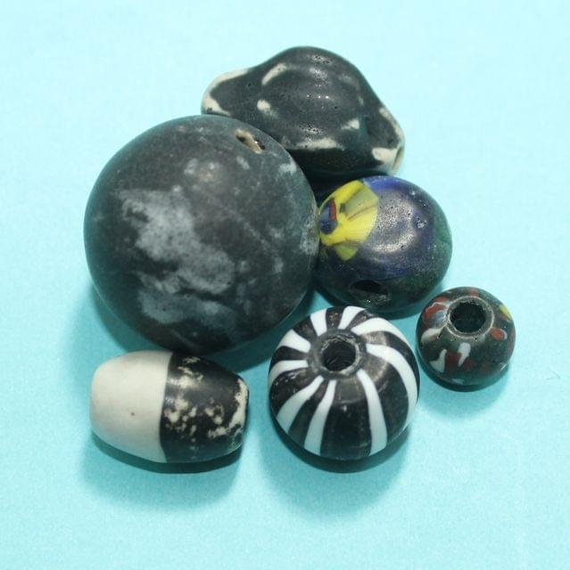 40 Assorted Antique Mosaic Glass Beads 28-12