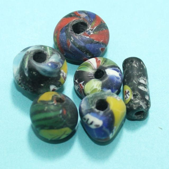 50 Assorted Antique Mosaic Glass Beads 25-12