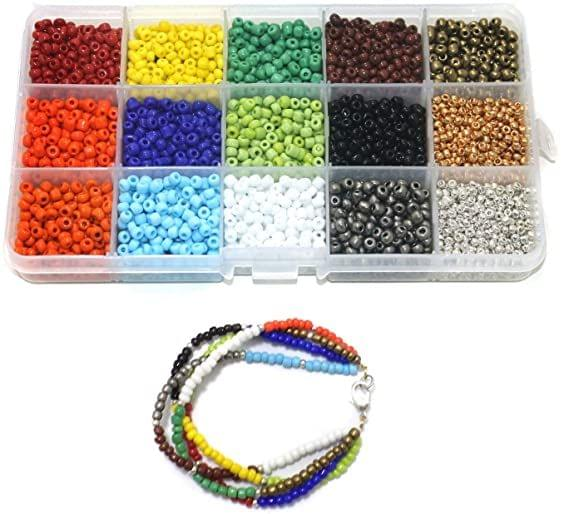 Jewellery Making Opaque & Metallic Seed Beads Kit [15 Colors]