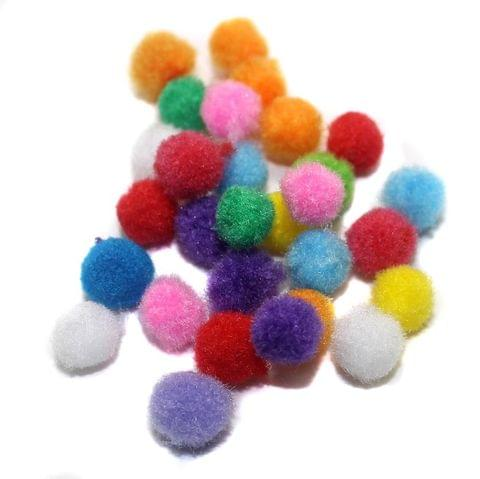 200 Pom Pom Round Beads Assorted 10mm