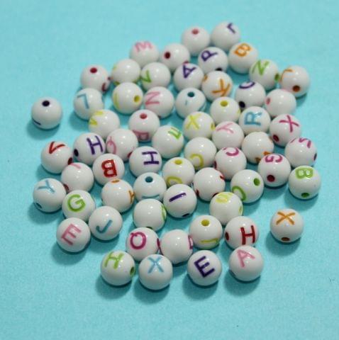 100 Gm Alphabet Beads Multicolor 8mm