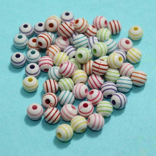 100 Gm Acrylic Round Beads Multicolor 8mm