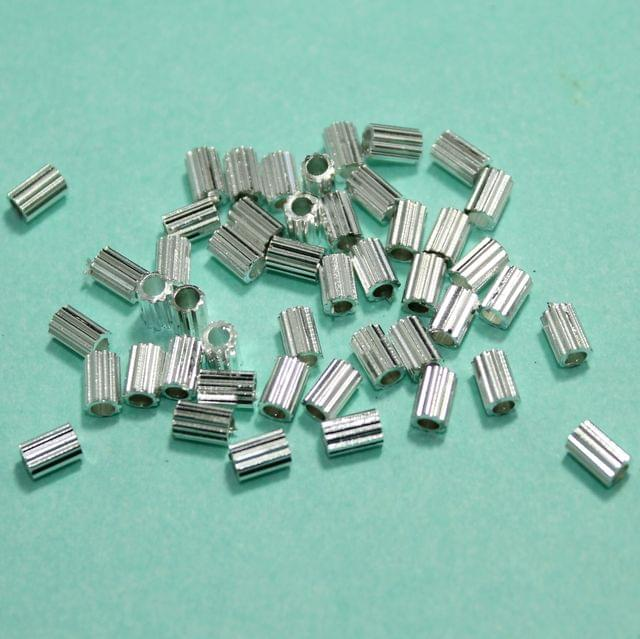 50 Gms Silver Brass Tube Beads, 5x3mm