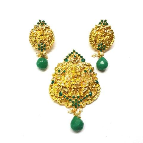 Green Temple Pendant, Pendant - 3 inches, Earrings - 2 inches