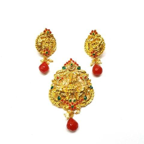 Red Temple Pendant, Pendant - 3 inches, Earrings - 2 inches