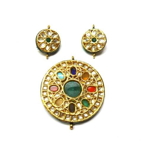 Kundan Pendant Set, Pendant - 2.5 inches, Earrings - 1.25 inches