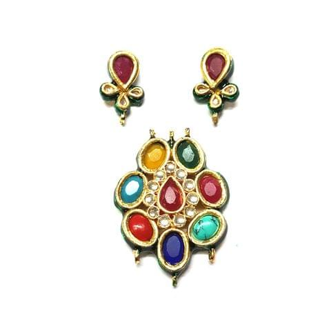 Kundan Pendant Set, Pendant - 2 inches, Earrings - 1 inch