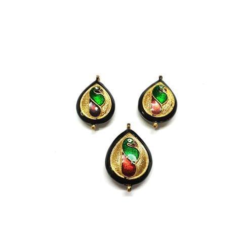 Kundan Meenakari Pendant Set, Pendant - 1.25 inches, Earrings - 1 inch