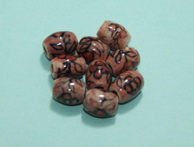 50 Pcs Ceramic Oval Beads 16x13 mm