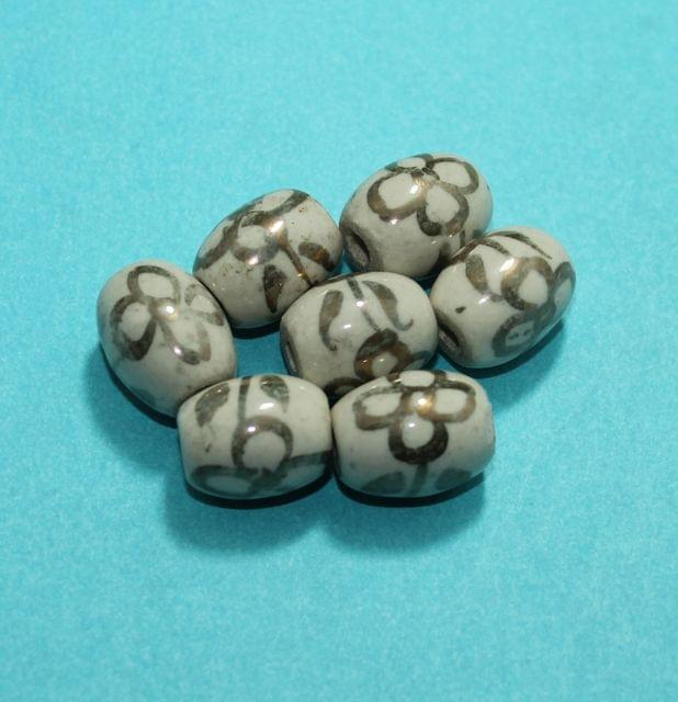 50 Pcs Ceramic Oval Beads 19x15 mm