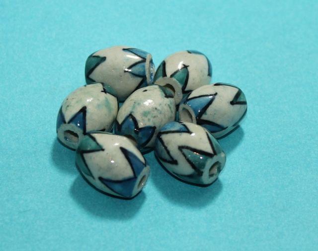 50 Pcs Ceramic Oval Beads 18x14 mm