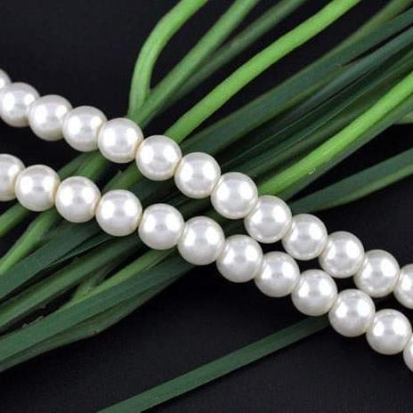 28+ Glass Pearl Round Beads White 14 mm