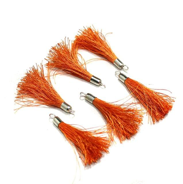 100 Pcs Silk Thread Tassels Orange, Size 2 Inches