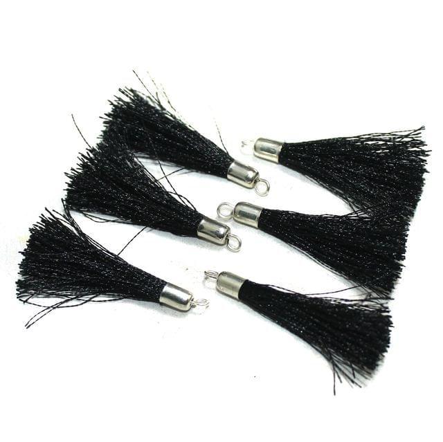 100 Pcs Silk Thread Tassels Black, Size 2 Inches