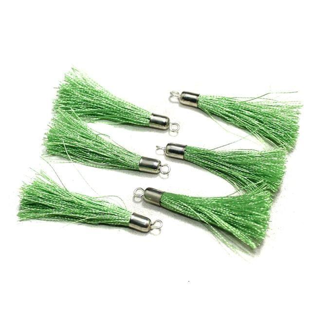 100 Pcs Silk Thread Tassels Peridot, Size 2 Inches