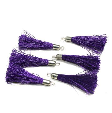 100 Pcs Silk Thread Tassels Purple, Size 2 Inches