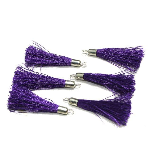 100 Pcs Silk Thread Tassels Purple, Size 2 Inches