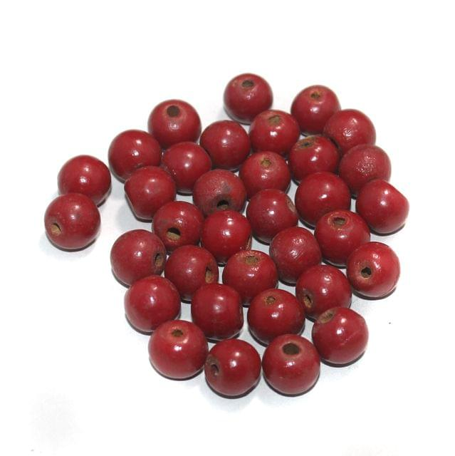 100 Pcs Round Vintage Wooden Beads, Size 13mm