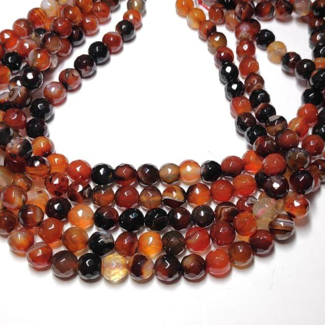 8 mm Agate Beads Semiprecious Gemstones Faceted Round Beads 2 Strings