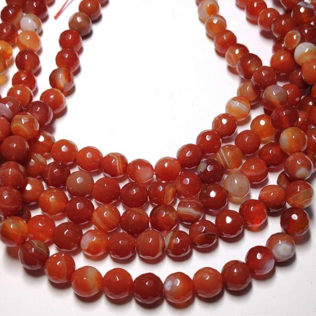 8 mm Agate Beads Semiprecious Faceted Round Beads 2 Strings