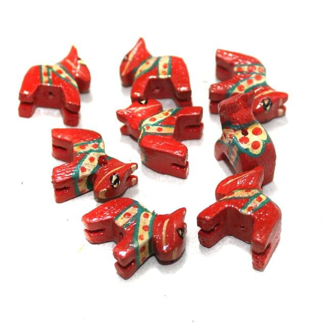 50 Pcs Horse Wooden Beads, Size 0.5 Inches