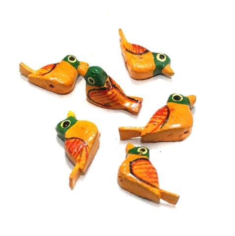 50 Pcs Birds Wooden Beads, Size 1 Inches